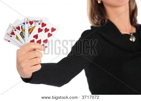 Woman Holds Card In Hand