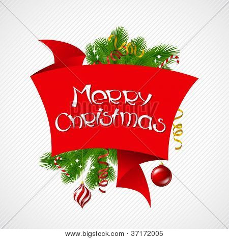 Merry Christmas vector background with glossy balls.