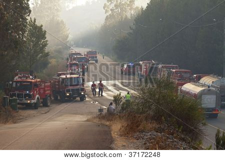 Pombal, Portugal - July 15: Fire Trucks On A Road To Prevent That Wildfire Crosses The Road, In Pomb