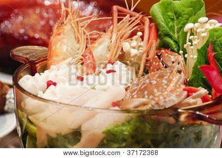 Sukiyaki Seafood Soup, Asian Cuisine.