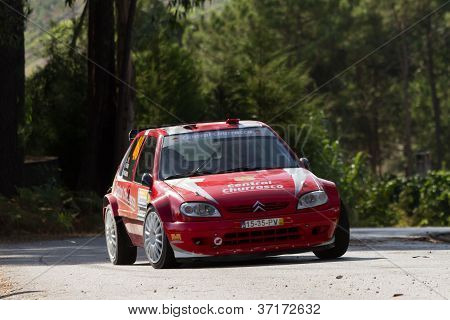 Pombal, Portugal - September 22: Octavio Nogueira Drives A Citroen Saxo S1600 During Rally Centro De