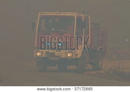 Pombal, Portugal - September 22: Fire Truck Changing Position On Wildfire, In Pombal, Portugal On Se