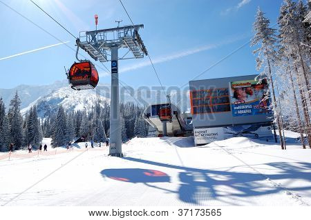 Jasna-march 15: Cableway Station In Jasna Low Tatras. It Is The Largest Ski Resort In Slovakia With
