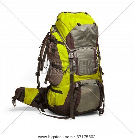Slightly Used Tourist Backpack Isolated On White. Isolation Path Is Included