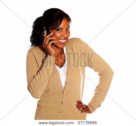 Happy Young Woman Looking At You With Cellphone