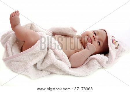 baby wrapped in a towel
