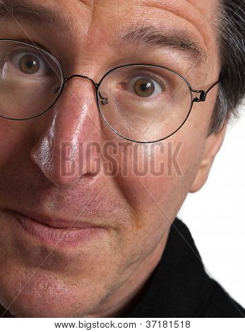 Intense man portrait with glasses