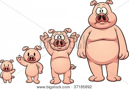 Cute cartoon pig growing up. Vector illustration with simple gradients. Each element in a separate layer for easy editing.
