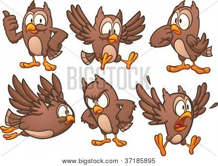 Cute cartoon owl in different poses. Vector illustration with simple gradients. Each in a separate layer.