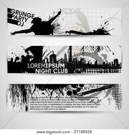 set of three banners, abstract headers with grunge blots. Grunge banner with an inky dribble strip with copy space. Abstract background for party