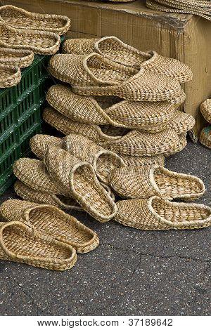 Pairs of straws slippers
