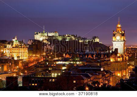 Edinburgh Skylines building and castle from Calton Hill Scotland UK at dusk