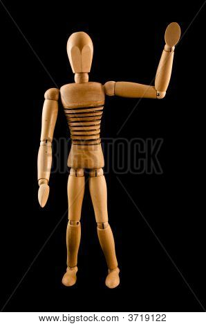 Wooden Man Waving