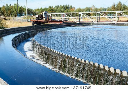 Water Overflow From The Big Sedimentation Drainages Round Form