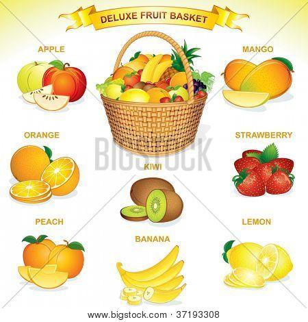 Deluxe Fruit Basket Illustration