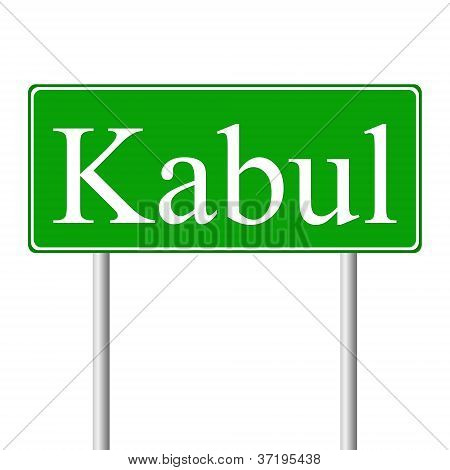 Kabul green road sign