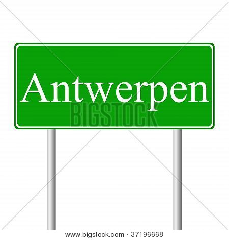 Antwerpen green road sign