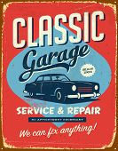 Vintage metal sign - Classic Garage - Vector EPS10. Grunge effects can be easily removed for a brand
