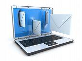 stock photo of telegram  - Laptop and fly envelopes  - JPG