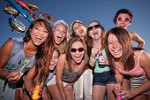 pic of bff  - Group of happy girls with bubbles at amusement park