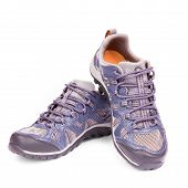 stock photo of tennis shoes  - New Running Shoe Isolated On White Background - JPG