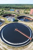 stock photo of reprocess  - Huge circular sedimentation tank Water settling purification in the water station - JPG