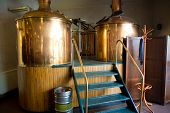 image of pressure vessel  - Line of two traditional brewing vessels in brewery - JPG