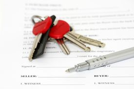 pic of rental agreement  - Contract ready to be signed shallow depth of field