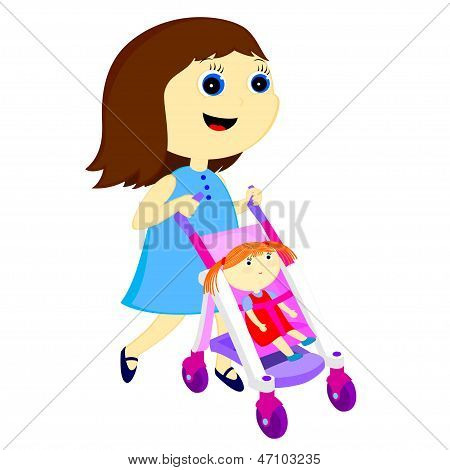 Girl With Stroller For Dolls