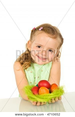 Cute Little Girl With Easter Eggs