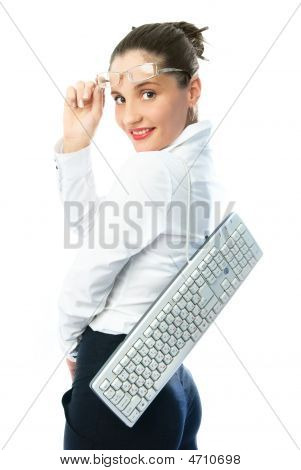 Businesswoman With A Keyboard