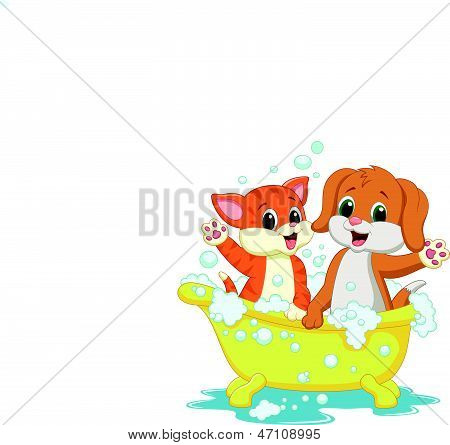 Cute cat and dog cartoon bathing time