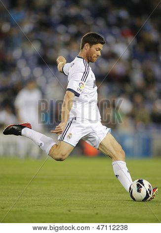 BARCELONA - MAY, 11: Xabi Alonso of Real Madrid during the Spanish League match between Espanyol and Real Madrid at the Estadi Cornella on May 11, 2013 in Barcelona, Spain