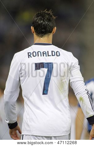 BARCELONA - MAY, 11: Cristiano Ronaldo of Real Madrid back during the Spanish League match between Espanyol and Real Madrid at the Estadi Cornella on May 11, 2013 in Barcelona, Spain