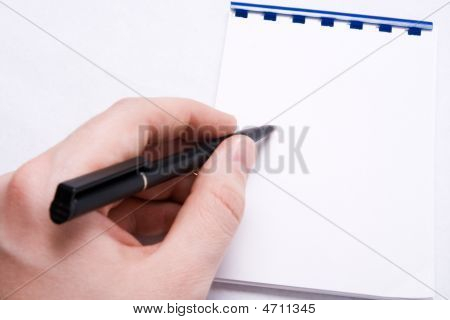 Message Write - Hand Writing On Blank Notepad