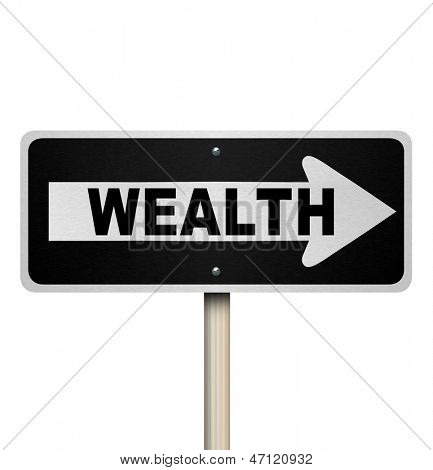A road sign with the word Wealth and arrow pointing right, symbolizing financial advice one would receive from an advisor when saving for a profitable future