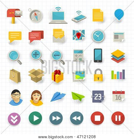 Vector flat design communication and business icon set