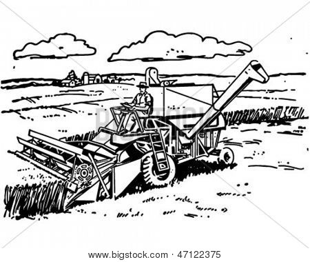 Harvester - Retro Clip Art Illustration