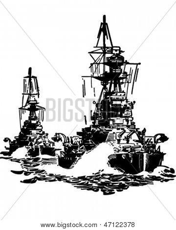 Approaching Battleships - Retro Clip Art Illustration