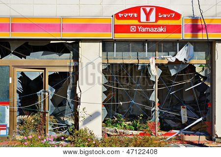 MIYAGI, JAPAN - OCTOBER 29: Damage from the Tohoku earthquake and tsunami October 29, 2012 in  Miyagi, JP. 16,000 people died in the costliest disaster in world history estimated at US$235 billion.
