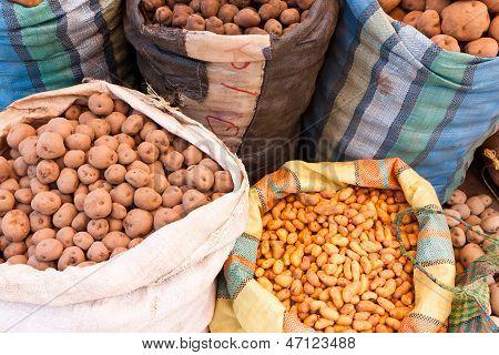 Potatoes, Market Day At Pisac, Peru
