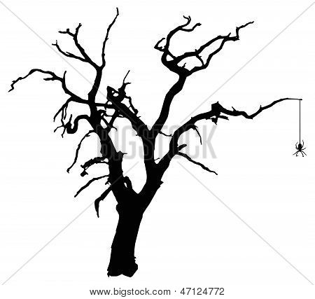 Spooky Vector Tree with Spider