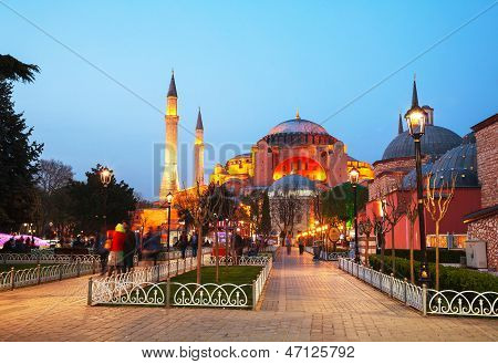 Hagia Sophia In Istanbul, Turkey Early In The Evening