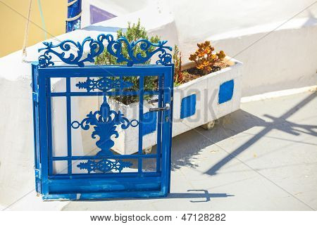 Traditional Blue Entrance To A Greek House On Santorini