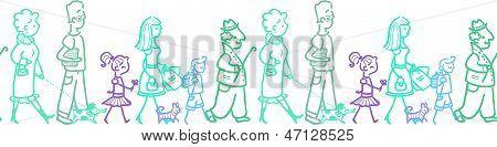 People walking horizontal seamless pattern background border