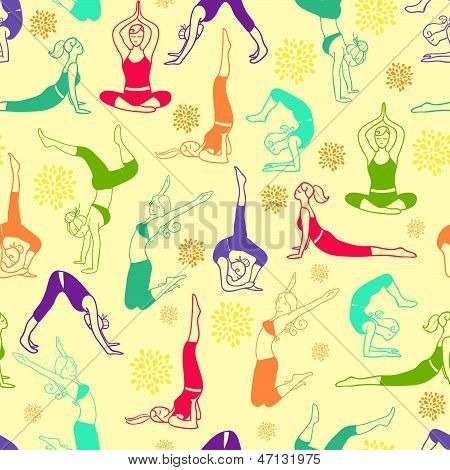 Workout fitness girls seamless pattern background