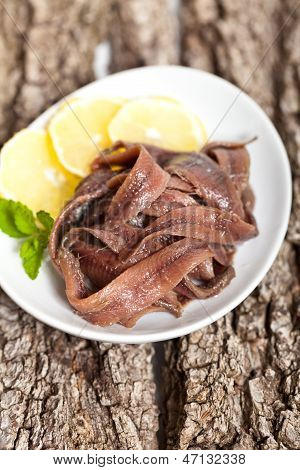 Anchovy fillets pickled