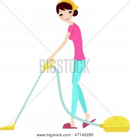 Frau mit Staubsauger auf weiß