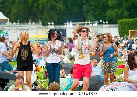 """MOSCOW - JUNE 16: People attend open-air concert on X International Jazz Festival """"Usadba Jazz"""" in Archangelskoye Museum-Mansion on June 16, 2013 in Moscow"""