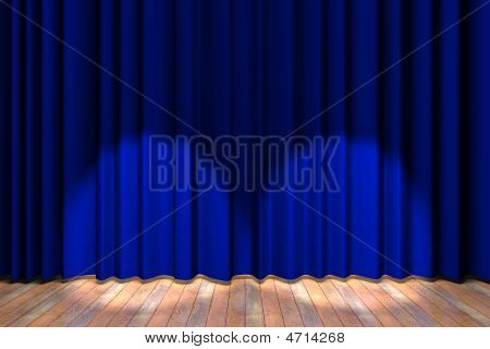 Blue Curtain Stage